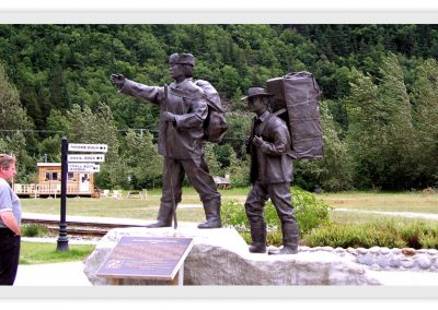 Bronze monument in Skagway.